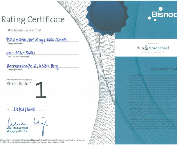 Rating Certificate BAUMANN/HOLDING/1886 GmbH - Top Wertung