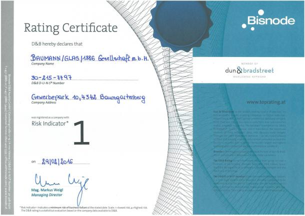 Rating Certificate BAUMANN/GLAS/1886 GmbH - Top Wertung